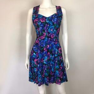VTG Knapp Studio Floral Print Cross Back Dress